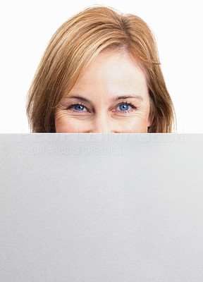 Buy stock photo Woman hiding her face behind empty sheet
