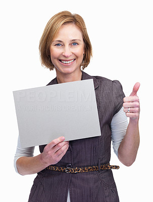 Buy stock photo Charming middle aged woman holding a blank board w