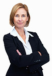 Portrait of confident female lawyer over white background