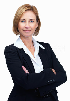 Buy stock photo Portrait of confident female lawyer over white bac