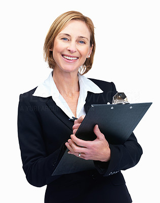 Buy stock photo Smiling business woman taking notes - White backgr