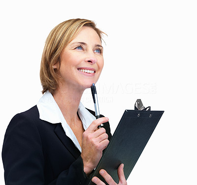 Buy stock photo Happy business woman wlth pen in hand looking at c
