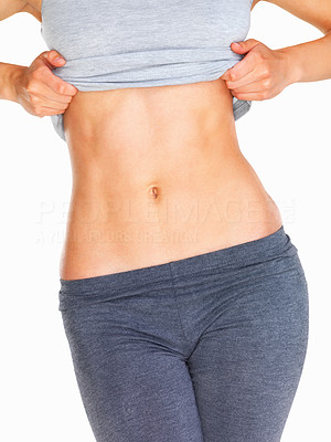 Buy stock photo Close up of woman's midsection on white background