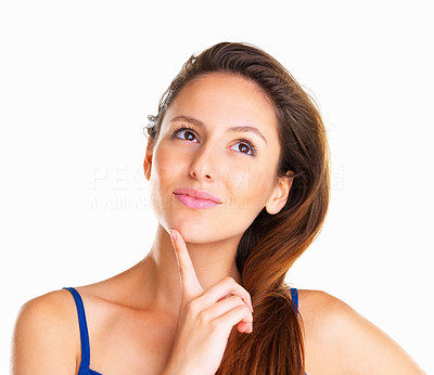 Buy stock photo Woman looking up against white background