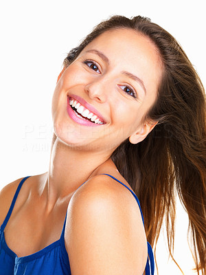 Buy stock photo Woman smiling and tilting head