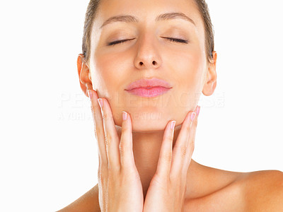 Buy stock photo Head shot of woman with hands on her face and eyes closed