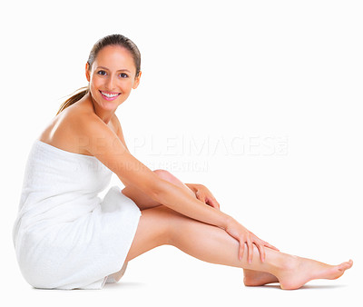 Buy stock photo Woman sitting wrapped in a towel