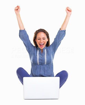 Buy stock photo Excited woman throwing arms up in the air