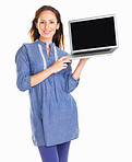 Happy woman presenting with a laptop