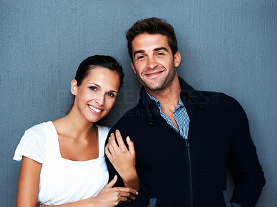 Buy stock photo Portrait of affectionate couple standing