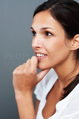 Buy stock photo Pretty woman with hand on chin