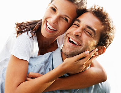 Buy stock photo Attractive couple embracing and being playful