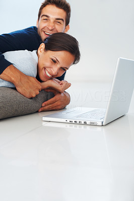Buy stock photo Man and woman laughing indoors near laptop