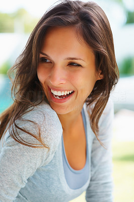 Buy stock photo Pretty woman laughing while sitting