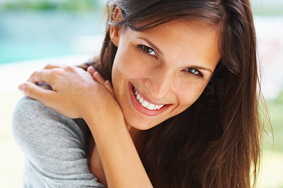 Buy stock photo Pretty woman smiling with hands crossed