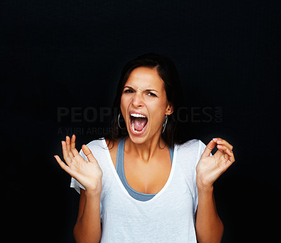 Buy stock photo Woman yelling against black background