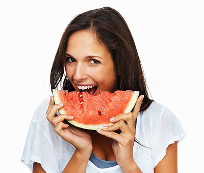 Buy stock photo Woman against white background ready to take another bite out of watermelon