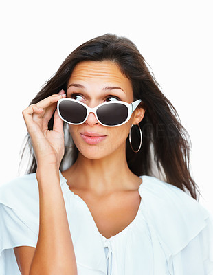 Buy stock photo Head shot of woman holding sunglasses against white background