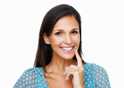 Buy stock photo Smiling woman holding finger to chin
