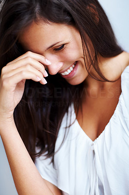 Buy stock photo Closeup portrait of a happy young woman smiling