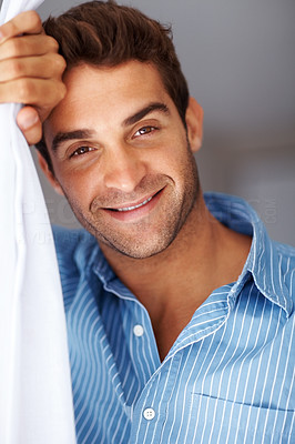 Buy stock photo Closeup portrait of a handsome young man looking happy
