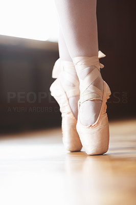 Buy stock photo Closeup portrait of a dancer in ballet shoes dancing in Pointe