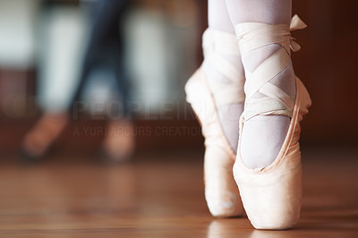 Buy stock photo Closeup portrait of a ballerina's feet in Pointe shoes