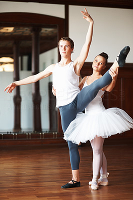 Buy stock photo Full length of two young ballet dancers practicing