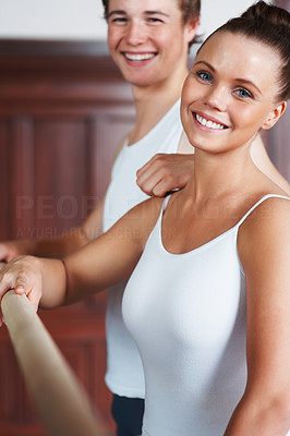 Buy stock photo Portrait of two young dancers taking a rest after a dance session