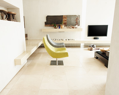 Buy stock photo View of a new, modern living room in an upscale house