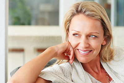 Buy stock photo Detail shot of an attractive middle aged woman smiling with copyspace