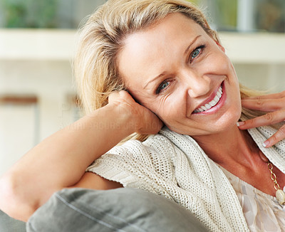 Buy stock photo Macro shot of a cute middle aged female smiling