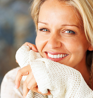Buy stock photo Closeup shot of a beautiful mature woman with a cute smile