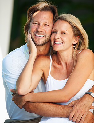 Buy stock photo Portrait of a romantic cheerful mature man and woman smiling