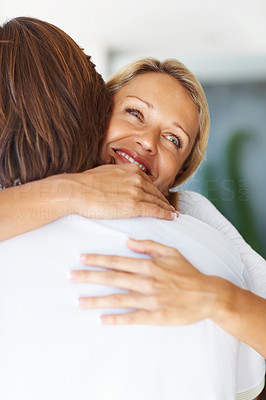 Buy stock photo Closeup portrait of a cheerful mid adult woman hugging a man