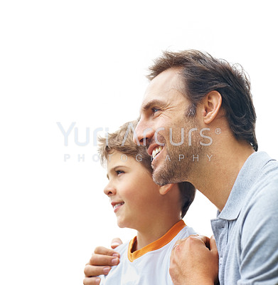 Buy stock photo Portrait of a caring father and cute son looking at something interesting - Copyspace