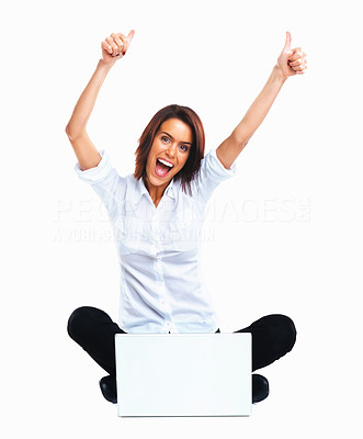 Buy stock photo Achievement - Happy young female sitting on floor using laptop, hands raised in excitement