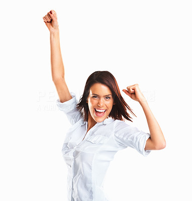 Buy stock photo Winner woman - Casual young successful executive very excited isolated on white background