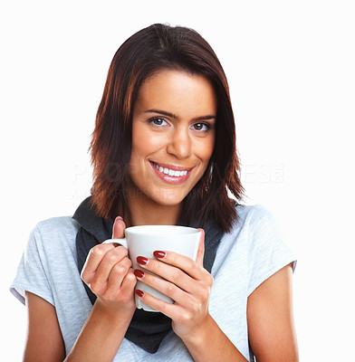 Buy stock photo Portrait of a beautiful happy woman holding a cup of tea isolated over white background