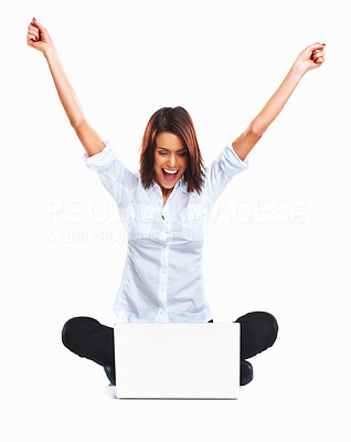 Buy stock photo Happy and lucky young woman with laptop sitting against white background