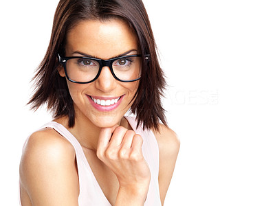 Buy stock photo Portrait of a beautiful young woman wearing glasses against white background