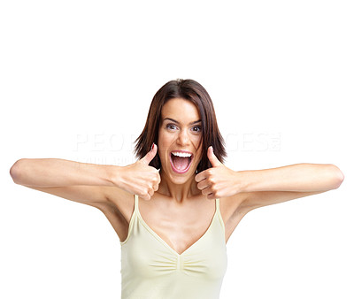 Buy stock photo Portrait of a excited young female showing thumbs up sign with both hands isolated over white background