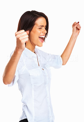 Buy stock photo Isolated studio picture of a young and excited woman