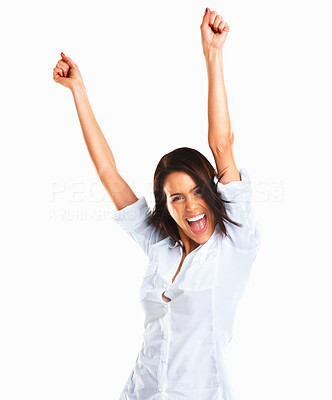 Buy stock photo Happy female executive with hands raised celebrating her victory isolated on white background