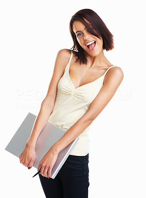Buy stock photo Isolated portrait shot of a happy college girl carrying a laptop
