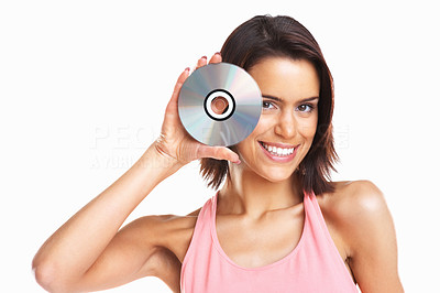 Buy stock photo Young happy beautiful woman holding a CD isolated on white background