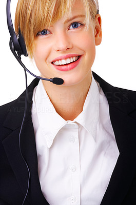 Buy stock photo Close-up portrait of friendly secretary/telephone operator. Isolated on white background.