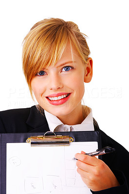 Buy stock photo Portrait of a friendly and beautiful business woman presenting some information on her folder. This isolate is taken in our studio.
