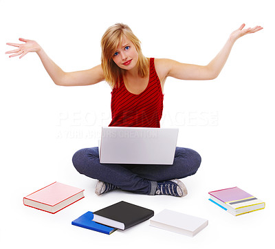 Buy stock photo Student with books spread around, shrugging on her shoulders as if giving up. Looking frustrated. Isolated.