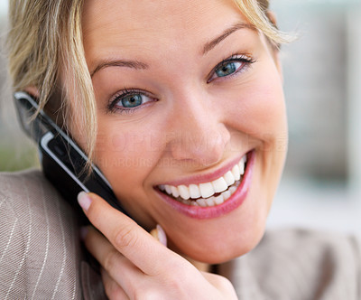 Buy stock photo Close-up portrait of a young beautiful woman using cell phone